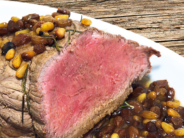 Apéritif: Rumsteck de bœuf aux raisins secs et aux pignons de pin