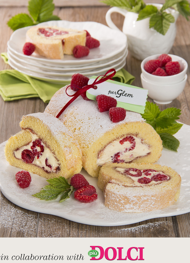 Chantilly cream and raspberry roll