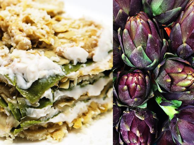 Primeros cursos: Lasañas de alcachofa y pecorino