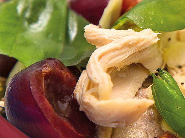 Salads and sides: Guinea fowl, basil, cherry and almond petal salad
