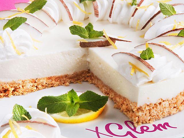 Desserts: Coconut and mint cheesecake