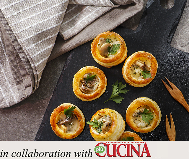 Specialista by Glem :  Vol-au-vent stuffed with taleggio cheese and courgettes