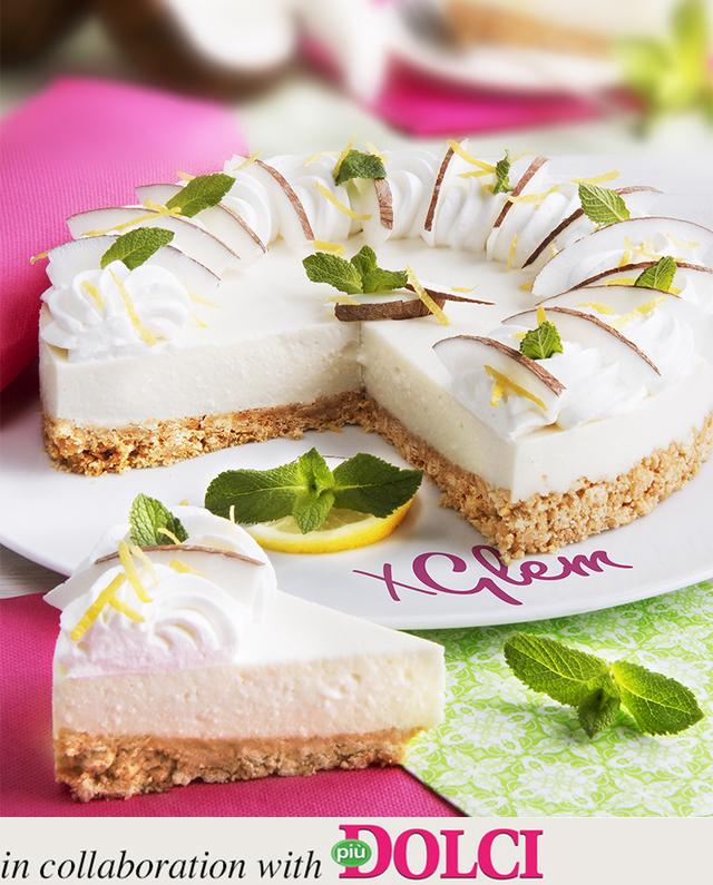 Cheesecake à la noix de coco et à la menthe