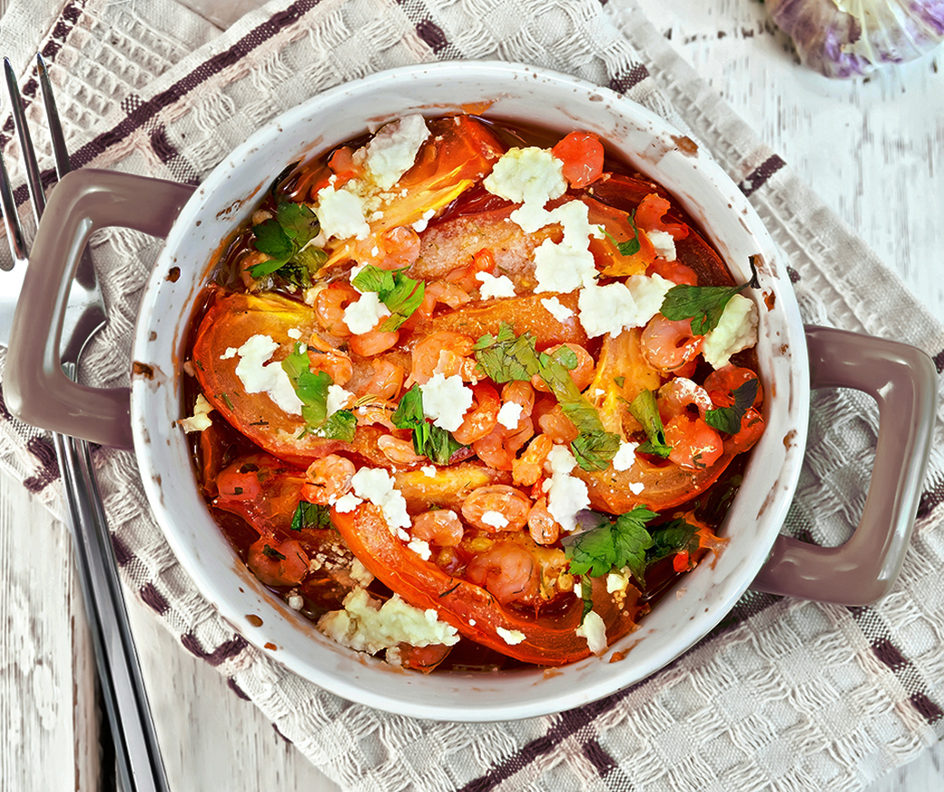 Rabbit with feta cheese and cherry tomatoes