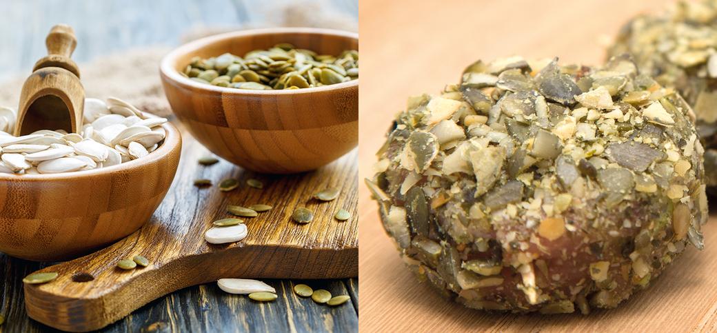 Rolinhos de carne com sementes de abóbora