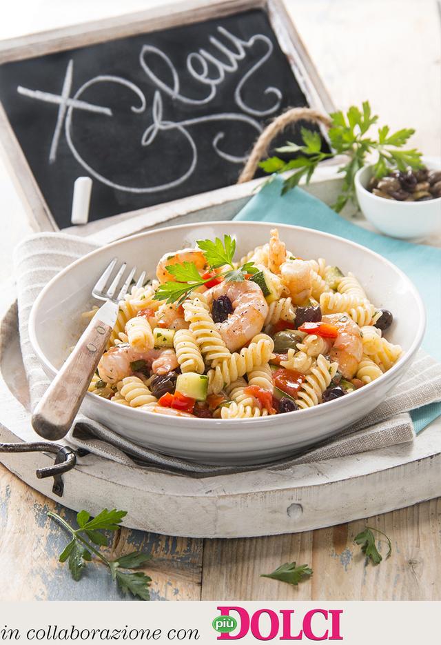 Fusilli aux petits légumes, olives et écrevisses