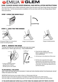 DI and ML model cooker door removal instructions