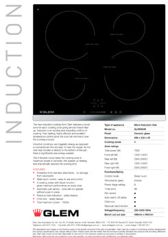 Cooktop information for induction and ceramic cooktops