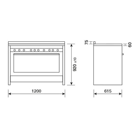 Technical drawing Stainless Steel / Red knobs - MG626RD - Glem Gas