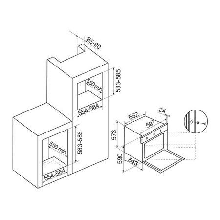 Disegno tecnico Forno elettrico multifunzione - GFP93WH - Glem Gas
