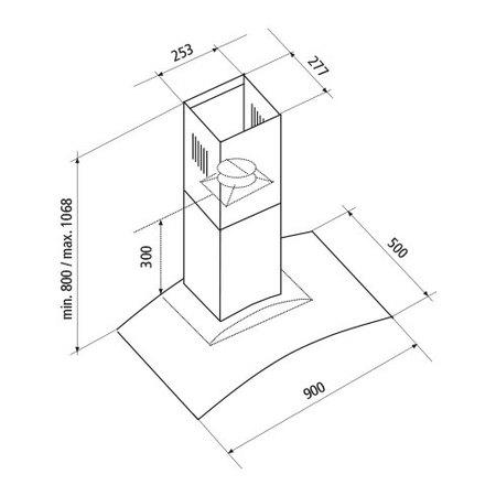 Disegno tecnico Cappa Wall 90 cm - GHS98IX - Glem Gas
