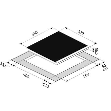 Technical drawing 60cm 4 Zone Induction Hob - GLIND64B - Glem Gas