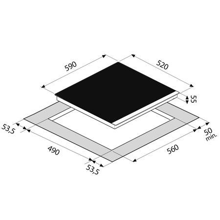 Technical drawing 60cm 4 Zone Ceramic Hob - GLCER64 - Glem Gas