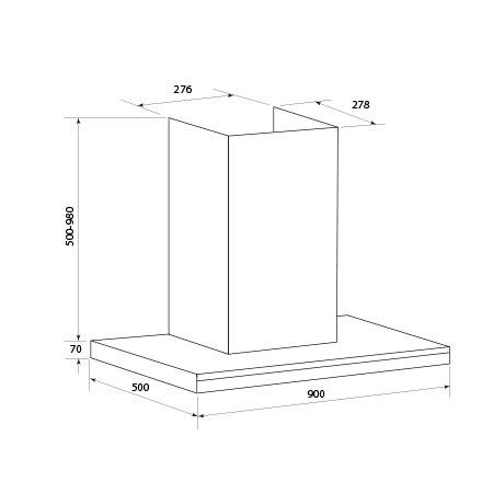 Technical drawing 90 cm SS T Bar flat canopy - CK90TBTF - Glem Gas
