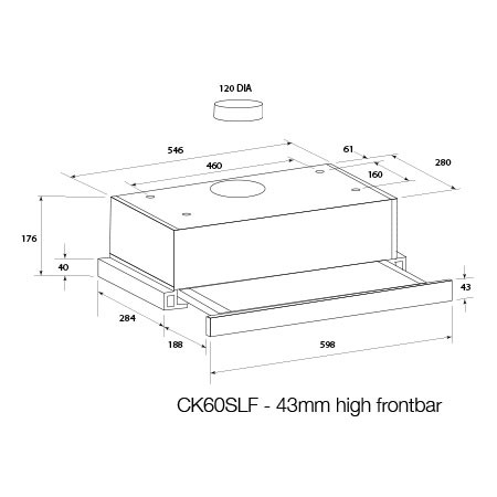 Technical drawing 60cm SS slide out DUCTED rangehood - CK60SLF - Glem Gas