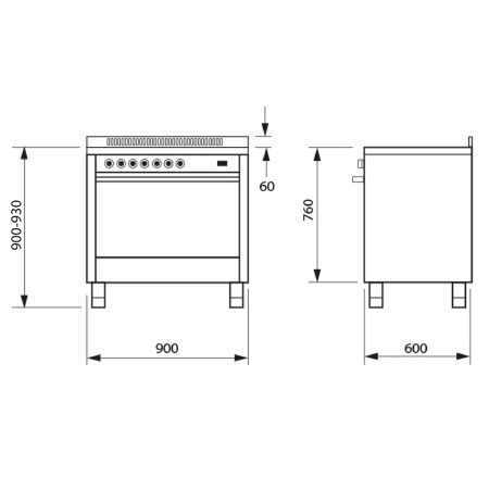 Technical drawing 90cm Stainless steel cooker with fan assisted gas oven. - IT965MVI2 - Glem Gas