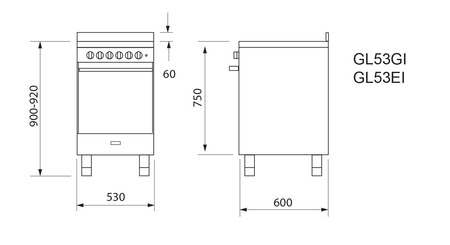 Technical drawing 53CM ALL GAS STAINLESS STEEL COOKER - GL53GI - Glem Gas