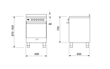 Technical drawing Dual fuel 60cm stainless steel cooker - UN664EI - Glem Gas