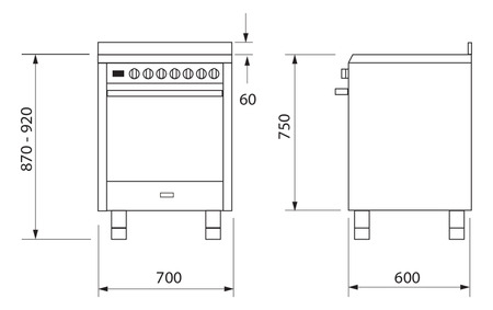 Technical drawing 70CM STAINLESS STEEL BI ENERGY COOKER  - UN765GGEI - Glem Gas