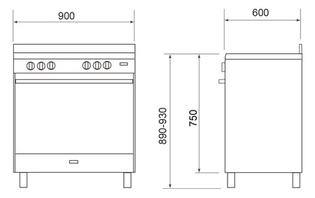 Technical drawing 90CM ALL GAS STAINLESS STEEL COOKER - UN965MVI - Glem Gas