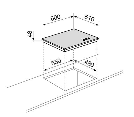 Technical drawing Crystal  Gas hob - GV64WH - Glem Gas