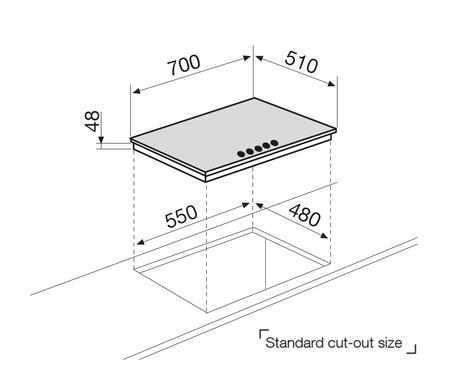 Diseño técnico Placa de cristal a gas  - GV755HBK - Glem Gas