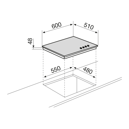 Diseño técnico Placa de cristal a gas  - GV64HBK - Glem Gas