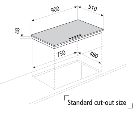 Dessin technique Table gaz en verre - GV955HBK - Glem Gas