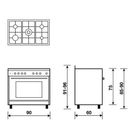 Dessin technique Cuisinière gaz catalyse 90 x 60 cm noire/inox - GE960CMBK2 - Glem Gas