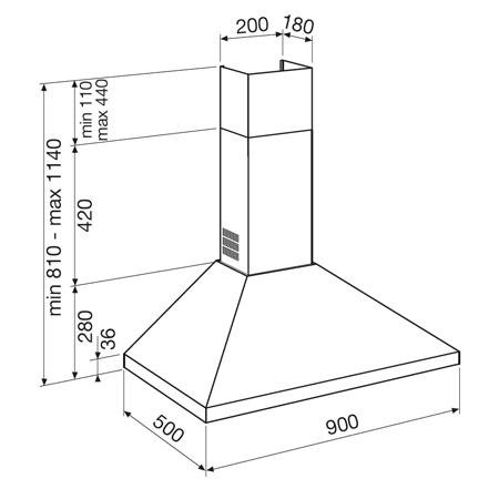 Disegno tecnico Cappa Wall 90 cm - GHP970IX - Glem Gas