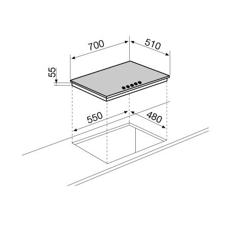 Disegno tecnico Piano cottura Cristallo 70 cm - GV755BK - Glem Gas