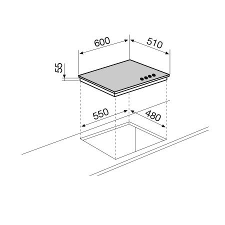 Disegno tecnico Piano cottura Cristallo 60 cm - GV64WH - Glem Gas