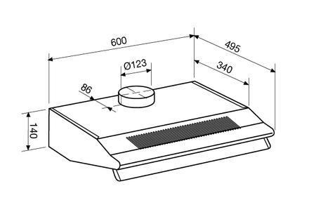 Technical drawing Hoods Standard 60 cm - GHC65IX - Glem Gas