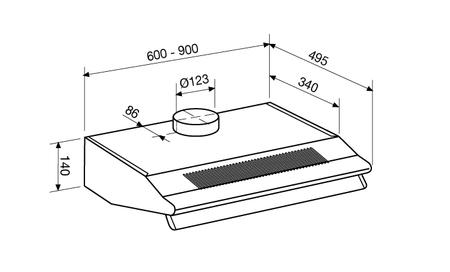 Dessin technique Hotte intégrée à double soufflante 90 cm - GHC95IX - Glem Gas