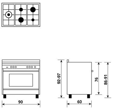 Desenho técnico Forno a gás multifunções com ventoinha - M96TVI2 - Glem Gas