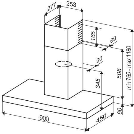 Diseño técnico Campana cuadrada a pared de 90 cm - GHB98IX - Glem Gas