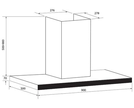 Technical drawing 90cm T Bar Rangehood - GQA90TB - Glem Gas