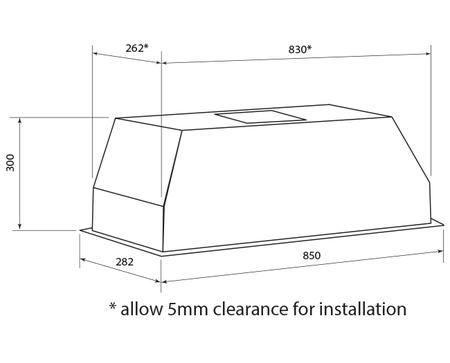 Technical drawing 85cm Under Cupboard Rangehood - GQA85UC - Glem Gas