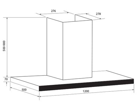 Technical drawing 120cm T Bar Rangehood - GQA120TB - Glem Gas