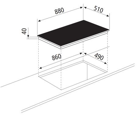 Technical drawing Ceramic Glass Hob 90 cm - GTH96TIX - Glem Gas