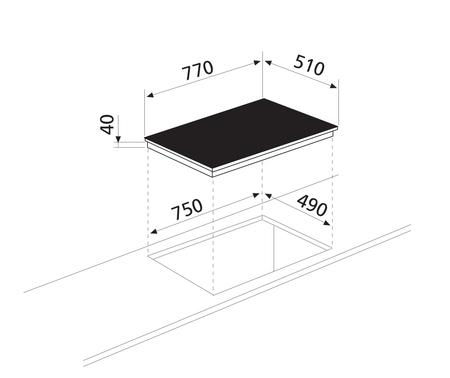 Diseño técnico Placa vitrocerámica 4 zonas - GTH75TC  - Glem Gas