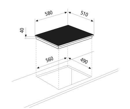 Technical drawing Ceramic Glass Hob 4 zones - GTH64TF  - Glem Gas