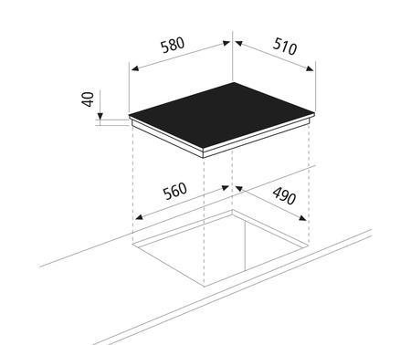Dessin technique Table de cuisson en vitrocéramique - 3 foyers - GTH63TBK  - Glem Gas