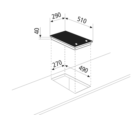 Diseño técnico Placa vitrocerámica 2 zonas - GTH32K  - Glem Gas