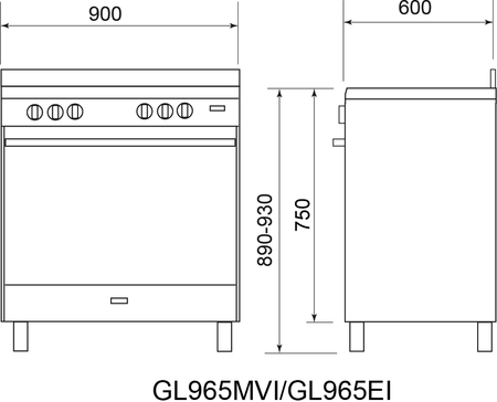 Technical drawing 90CM ALL GAS STAINLESS STEEL COOKER - GL965MVI - Glem Gas