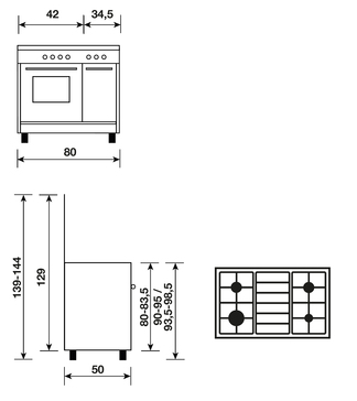 Dessin technique BUTANETTE ÉMAIL LISSE BLANCHE 80x50 CM - GA85PMWH - Glem Gas