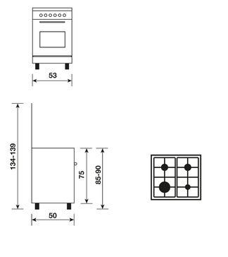 Dessin technique Gazinière émail lisse 53 x 50 cm blanche - GA551GWH - Glem Gas
