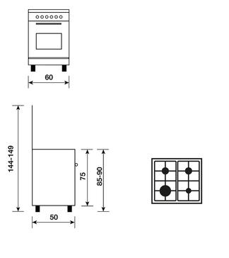 Dessin technique Cuisinière gaz catalyse 60 x 50 cm inox - GA650CMIX - Glem Gas