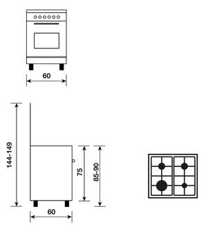 Dessin technique Cuisinière gaz émail lisse 60 x 60 cm inox - GA660MIX - Glem Gas