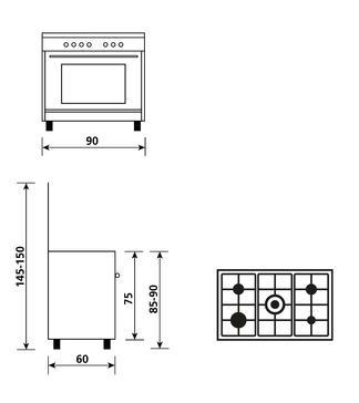 Dessin technique Cuisinière gaz émail lisse 90 x 60 cm inox - GA960MIX2 - Glem Gas